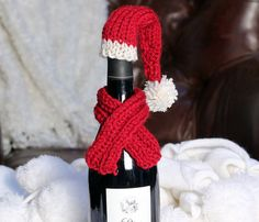 Items similar to Wine Cozy Wine Bottle Topper Knit Christmas Wine Bottle Hat & Scarf on Etsy Wine Bottle Tags, Wine Bottle Covers, Bottle Bag, Christmas Knitting, Christmas Crafts, Crochet Christmas, Christmas Ideas, Xmas, Crochet Cozy