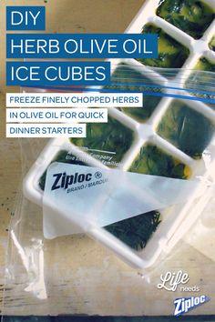SO convenient for quick dinners. Just freeze herbs in olive oil for easy meal starters. We store them in Ziploc® bags so they don't make the rest of the freezer smell like an Italian dinner (oregano-scented ice cream? No thank you!).