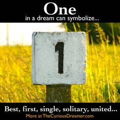 The number 1 in a dream can represent... More at TheCuriousDreamer.com... #dreammeaning #dreamsymbols
