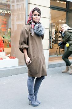Miroslava Duma in a sweater dress and gorgeous suede boots.  Source: Adam Katz Sinding