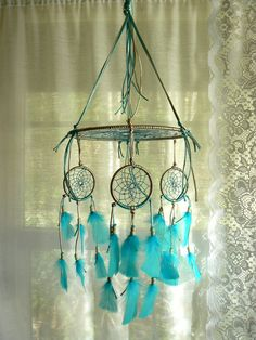 Dream Catcher Mobile by Winchestergems on Etsy, $47.00. Could wrap and band around the stick or metal of the dream catcher