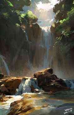 Rocks and waterfall illustration art Fantasy Art Landscapes, Fantasy Landscape, Landscape Art, Beautiful Landscapes, Landscape Paintings, Scenery Paintings, Landscape Drawings, Contemporary Landscape, Landscape Architecture