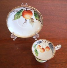VINTAGE  DEMITASSE TEACUP AND SAUCER PEACHES WITH  LEAVES MADE IN JAPAN #MADEINJAPAN