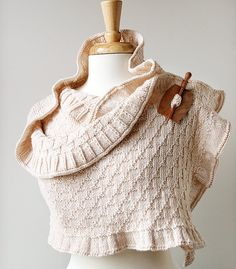 Rococo Knit Shawl in Ivory by TickledPinkKnits #wedding #handmade #bride