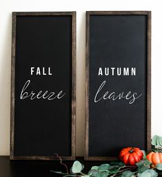 """This painted, farmhouse wood sign is inspired by all things fall and all things pumpkin. It reads: """"fall breeze autumn leaves"""" on the painted sign. This cute, square sign would be perfect on a wall or mantle to decorate for the fall season. Rustic Fall Decor, Fall Home Decor, Autumn Home, Fall Mantle Decor, Farmhouse Frames, Farmhouse Wall Decor, Farmhouse Signs, Modern Farmhouse, Siena"""