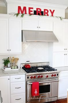 Love this white and red Christmas kitchen @findinghome