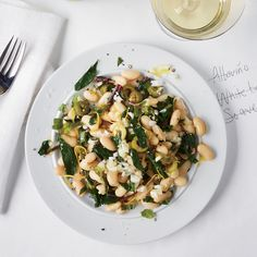 Dandelion and White Bean Salad with Mint and Olives | Food & Wine