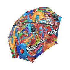 Juleez Jazz Umbrella Music Theme Art Print Auto-Foldable Umbrella.Music Art Colorful artwork by Juleez. Features musician and music art themes by Juleez.