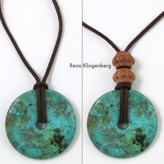 how to make a leather bracelet | Glass pendant on leather cord – by itself, and with two brass beads: