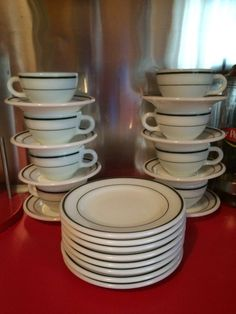 24 Piece Pyrex Restaurant 50s Dinning Ware. TeaCups, Sausers And Snack Plates. Dark Tone Green Striped Design. Beautiful Condition