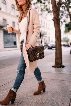 aac509c3aa4 Louis Vuiton POCHETTE METIS crossbody long cream cardigan outfit fall  outfit i - - LV Pochette