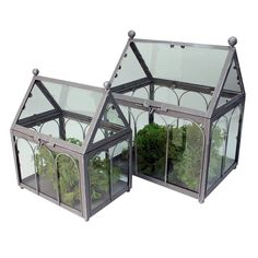 Metal Glass Greenhouse | Set of 2 | Grey  by Shades of Nature on THEHOME.COM.AU