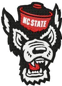North Carolina angry wolf logo machine embroidery design. Machine embroidery design. www.embroideres.com