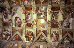 Sistine Chapel Ceiling Painting Angels Rome The Vatican Michaelangelo S