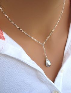 Teardrop lariat necklace in Silver  by RoyalGoldGifts on Etsy, $26.00