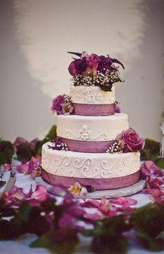 Purple ribbon and fresh flower cake topper...