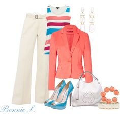 I really like this, bright colors and classic!    work outfit, created by bonnaroosky on Polyvore