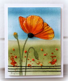 "IC429 Poppies by Biggan at SCS. Link to her inspiration on her SCS page. The poppy is a Penny Black stamp coloured with Distress Inks and a pebble has been placed below the flower head. The background has been created with watercoloured Distress inks with French knots stitched onto the ""grassy area"". Twine was wrapped around the base of the design."
