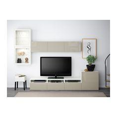 BESTÅ TV-Komb. mit Vitrinentüren - weiß/Selsviken Hochgl beige Klargl, Schubladenschiene, sanft schließend - IKEA