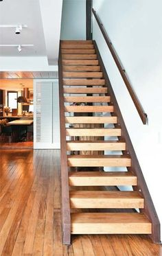 Jewellery For Lady - Wooden Staircase Design, Wooden Staircases, Wood Stairs, House Stairs, Garage Stairs, Pole Barn House Plans, Family House Plans, Pole Barn Homes, Dream House Plans