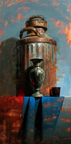 Balance in Red  Oil on Panel  24 x 12  - David Cheifetz