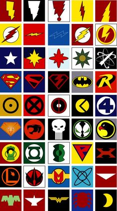 All Superhero Symbols Logo Super Heros, Superhero Emblems, Comic Art, Comic Books, Typographie Logo, Marvel Dc Comics, Marvel Logo, Comic Character, Cartoon Drawings