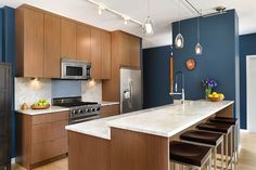Kitchen Designer Chicago Fair A Bold Blue Kitchen In Chicago Dresner Design Kitchen Design Design Decoration