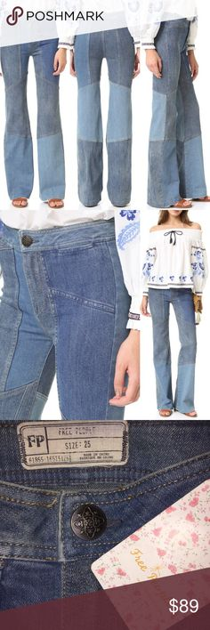 NWT Free People Alissa's Patchwork Flare Jeans NWT Free People Alissa's Patchwork Flare Jeans in Blue.  Size: 25.  Contrast panels lend a statement-making look to these Free People flare jeans. Welt front pockets. Button closure and zip fly. Free People Jeans Flare & Wide Leg