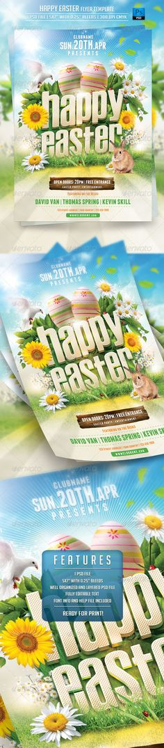 "Happy Easter Flyer Template 1 PSD file – 5×7"" with 0.25"" bleeds 