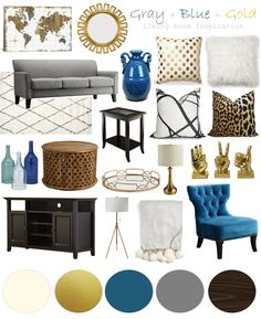Mood Board, Living Room Inspiration, Home Decor, Design, Moody Girl In Style Blue And Gold Living Room, Blue Living Room Decor, Glam Living Room, Living Room Color Schemes, Living Room Sofa, Living Room Designs, Glam Colorful Living Room, Home Design, Interior Design