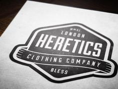 Heretics Clothing Company. Vintage style logo by Dustin Chessin. http://dchessin.com/