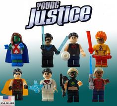 Young Justice Lego Compatible Minifigure lot of 8 Building Block toy Figures Custom set
