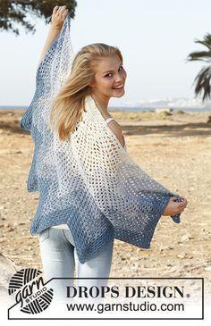 Crochet DROPS shawl with zig-zag pattern in 2 strands BabyAlpaca Silk. Free pattern by DROPS Design.