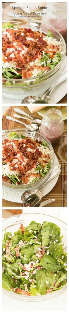 Spinach Bacon Salad with Poppy Seed Dressing!!