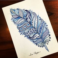 Zentangle Feather By @lisa565998  _ Also check out our fellow art page @worldofartists
