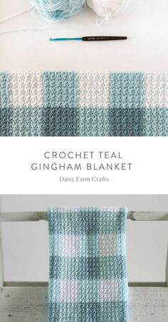 Free Pattern - Crochet Teal Gingham Blanket