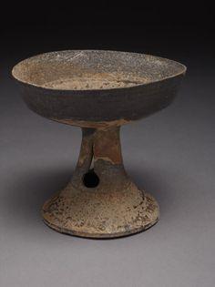 Pedestal bowl, Stone with ash glaze, 5th century Korea #Koreanart #Ceramics #Crowcollection