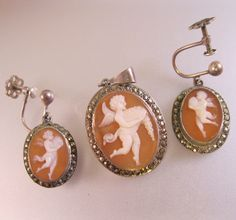 $119.00 Edwardian Italian Cameo Cupid Angel Marcasite .800 Silver Earrings & Brooch/Pendant Set w/Box Antique Jewelry Jewellery by BrightEyesTreasures on Etsy