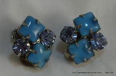 Women's clip on earrings large blue rhinestones prong set in silver tone metal  http://vignettejewel.ecrater.com/