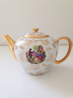 English Fine Porcelain 4 Cup Courting Couple Teapot Victorian Tea Party