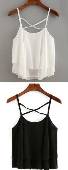 Layered Crisscross Chiffon Cami Top - White