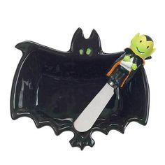 Happy Hauntings Eerie Bat Halloween DIP Bowl Spreader Set by Boston Warehouse