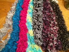 My homemade fashion ruffle scarves. Starbella sashay knitted