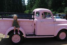 i Just love old trucks!!   and this pink is pretty bad ass!! nice cruise by the beach in this would be coo!!
