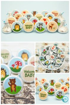 our cuddly woodland animals baby shower themed stickers features red foxes owls and adorable