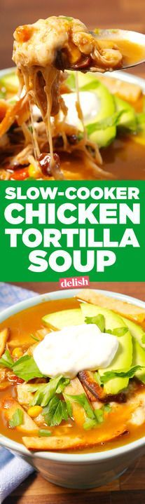 Slow-Cooker Chicken Tortilla Soup is the no-fuss way to warm up. Get the recipe from Delish.com.