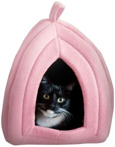 Cat Pet Bed, Igloo- Soft Indoor Enclosed Covered Tent/House for Cats, Kittens, and Small Pets with Removable Cushion Pad by PETMAKER (Tan) ** See this great product. (This is an affiliate link) Small Kittens, Cats And Kittens, Small Dogs, Cave Dog Bed, Large Dog Crate, Dog Car Seats, Best Dog Training, Cushion Pads, Pet Beds