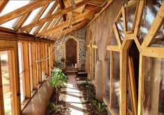 Earthship, nice glass bottle end wall