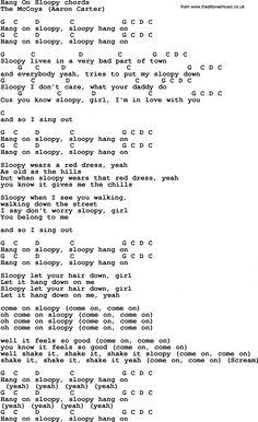 Love song: Hang On Sloopy-The McCoys With Chords and Lyrics, For ukulele, guitar, banjo and other instruments. Easy Guitar Songs, Guitar Chords For Songs, Uke Songs, Guitar Sheet Music, Recorder Music, Basic Guitar Lessons, Guitar Lessons For Beginners, Music Lessons, Song Lyrics And Chords