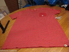 Men's Modern amusement pocket TEE Crow RARE T shirt XL red stripe surf NEW skate
